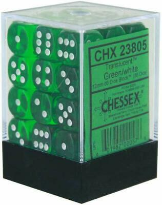 Chessex 36d6 Green Translucent 12mm Dice