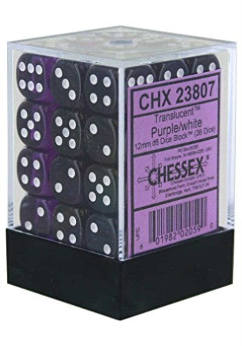 Chessex 36d6 Purple/White Translucent 12mm Dice | Game Master's Emporium (The New GME)