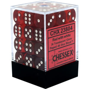 Chessex 36d6 Red/White Translucent 12mm Dice