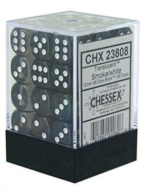 Chessex 36d6 Smoke/White Translucent 12mm Dice | Game Master's Emporium (The New GME)