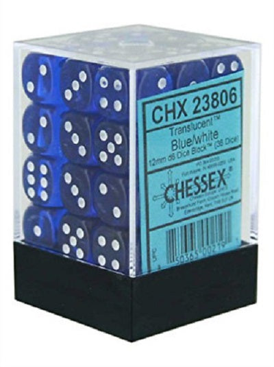 Chessex 36d6 Blue/White Translucent 12mm Dice | Game Master's Emporium (The New GME)