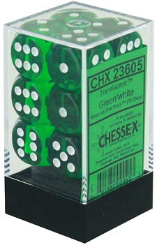 Chessex 12d6 Green Translucent 16mm Dice