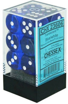 Chessex 12d6 Blue Translucent 16mm Dice
