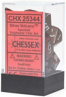 Chessex 7 Dice Speckled Silver Volcano Dice