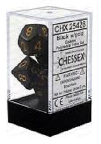 Chessex 7 Dice Black Gold Dice