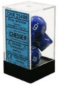 Chessex 7 Dice Blue White Dice