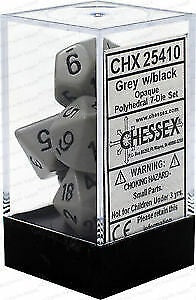 Chessex 7 Dice Dark Grey Black Dice