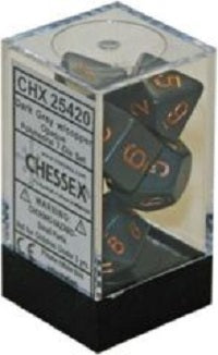 Chessex 7 Dice Dark Grey Copper Dice