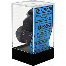 Chessex 7 Dice Dusty Blue Copper Dice