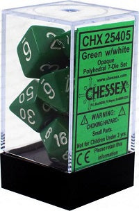 Chessex 7 Dice Green White Dice