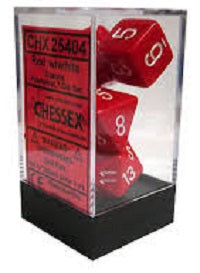 Chessex 7 Dice Red White Dice