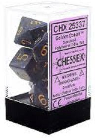 Chessex 7 Dice Speckled Golden Cobalt Dice
