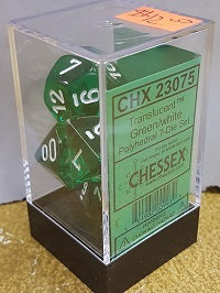 Chessex 7 Dice Translucent Green White Dice
