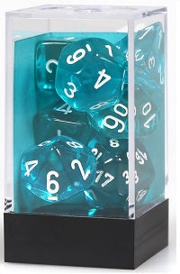 Chessex 7 Dice Translucent Teal White Dice | Game Master's Emporium (The New GME)