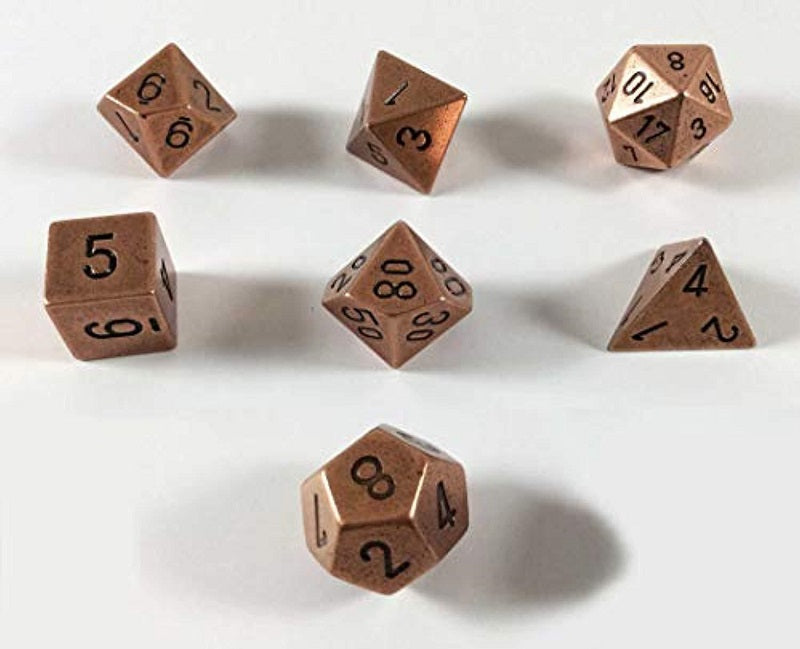 Solid Metal Copper Poly 7 Dice Set
