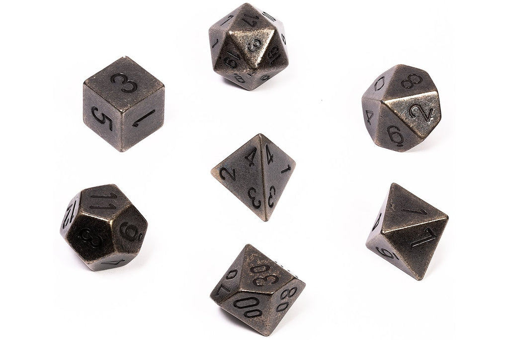 Solid Dark Metal Poly 7 Dice Set