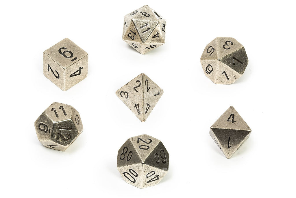 Solid Metal  Silver-Coloured Poly 7 Dice Set