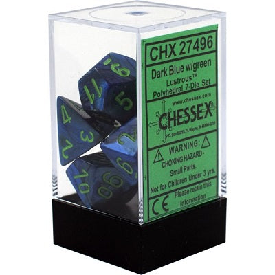 Chessex 7 Dice Lustrous Dark Blue/Green Dice | Game Master's Emporium (The New GME)