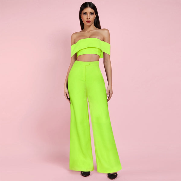 Neon Sexy Off Shoulder Bandeau Top AND Wide Leg Pants 2 Piece Set - The Star Fashions