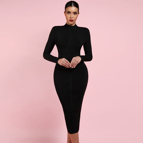 TSF Babe Turtleneck Rayon Long Sleeve High Quality Ribbed Midi Bandage Dress - The Star Fashions