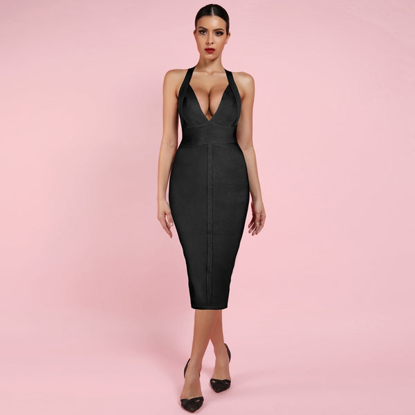 Cute Deep v Neck Sexy Bodycon Halter Bandage Dress - The Star Fashions