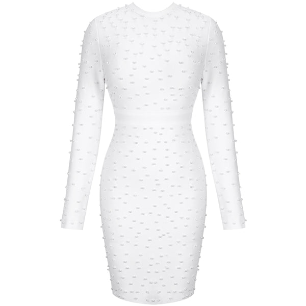 Luxury Beaded Bandage Sexy Long Sleeve Bodycon Dress - The Star Fashions