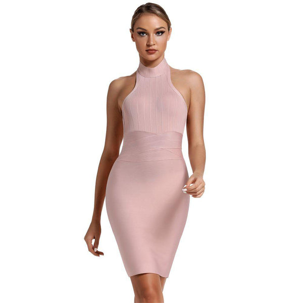 Halter Neck Nude Bandage Sexy Backless Bodycon Club Party Dress
