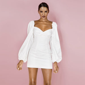 White Square Collar Long Sleeve Mini Puff Sleeve Backless Bandage Dress - The Star Fashions