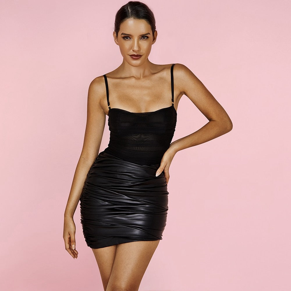 Black Strapy Sleeveless Mini Wrinkled Bodycon Dress - The Star Fashions