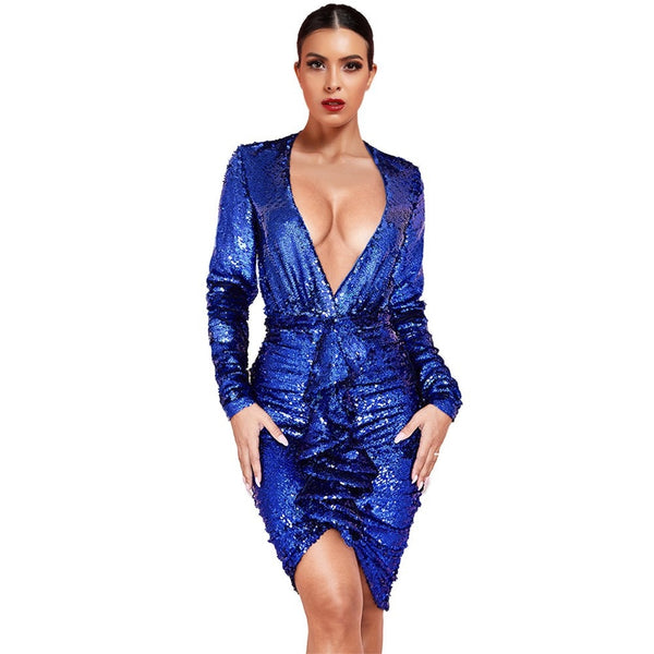 Blue V Neck Long Sleeve Mini Frill 2 Piece Bodycon Set - The Star Fashions