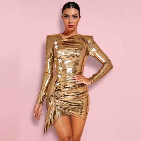 Luxury Gold V Neck Long Sleeve Mini Glass Buckle Wrinkled Bodycon Dress - The Star Fashions