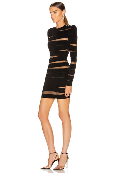New Fashion Women Black Sexy Mesh Long Sleeve Bandage Dress