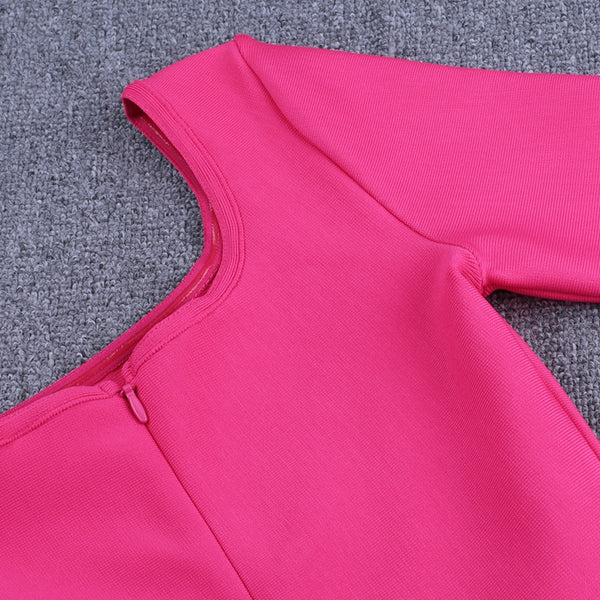 New One Shoulder Sexy Hot Pink Long Sleeve Dress - The Star Fashions
