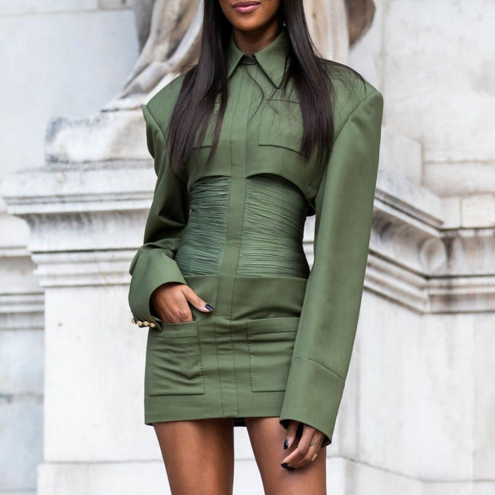 Army Green Bodycon Ruched Waist Turn-down Collar Dress - The Star Fashions