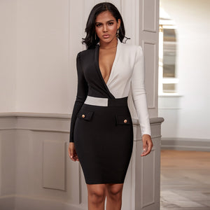 Office Sexy Deep v Neck Long Sleeve Black and White Dress