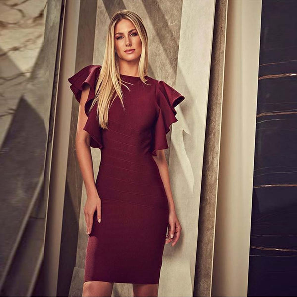 Bossy Round Neck Wine Sexy Ruffles Bandage Dress - The Star Fashions