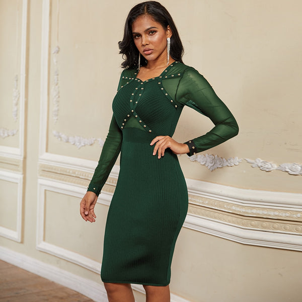 New Green Beaded Mesh Long Sleeve Bandage Dress - The Star Fashions