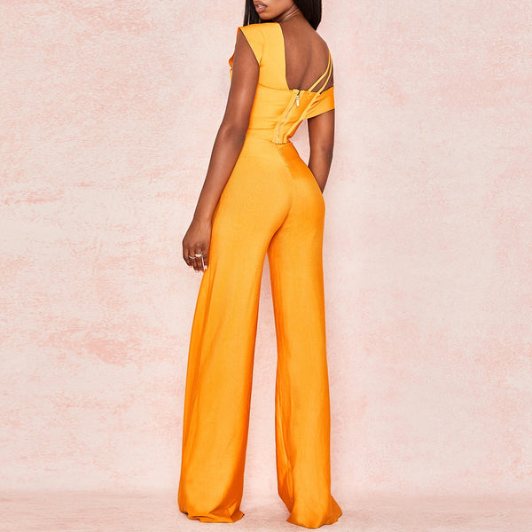 Two Piece Bandage Crop Top and Flared Trousers Bodycon Set - The Star Fashions