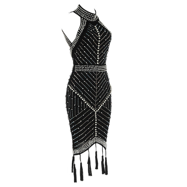 TSF Babe High Quality Halter Sleeveless Beading Dress - The Star Fashions