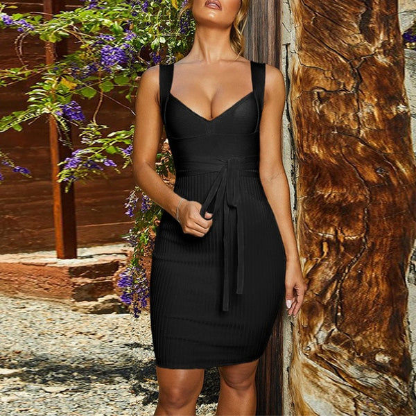 New Tie Waist Bodycon Bandage Dress Evening Party Dress - The Star Fashions