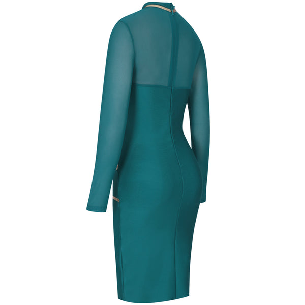 Shawty Baudace Long Sleeve Metallic Sexy Mesh Green Bandage Bodycon Celebrity Dress - The Star Fashions