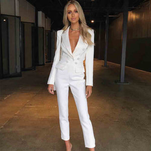Sexy V Neck  White Bodycon Celebrity Look Jumpsuit - The Star Fashions