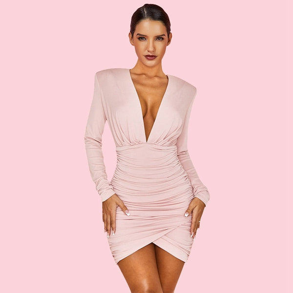 TSF Babe Pink V Neck Long Sleeve Mini Wrinkled Slit Bodycon Dress - The Star Fashions