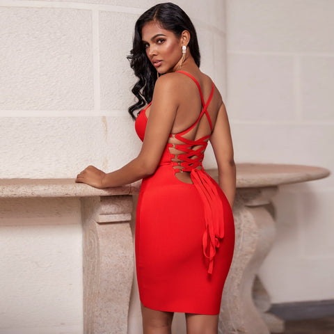 New Lace Up Sexy Bandage Backless Bodycon Dress - The Star Fashions