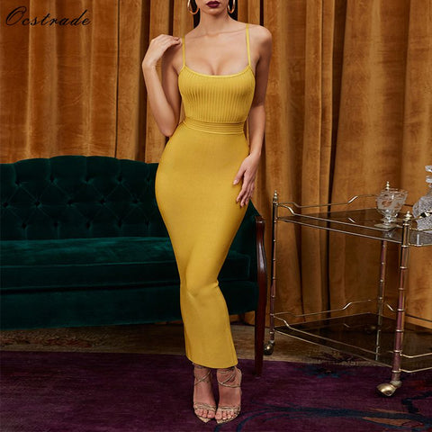 Vestidos Bandage Sexy Ginger Maxi Long Bodycon Dress - The Star Fashions
