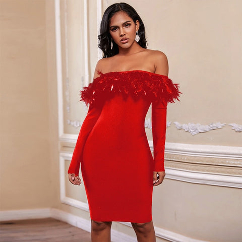 Drinks On Me Off Shoulder Feather Long Sleeve Bandage Bodycon Dress - The Star Fashions