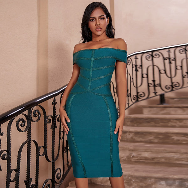 Office Sexy Off the Shoulder Bandage Dress Dress - The Star Fashions