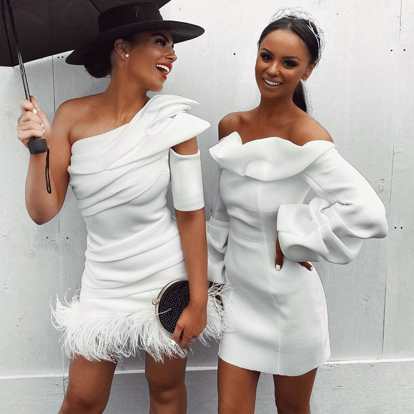 One Shoulder Bandage Dress Feather White Bodycon Celebrity Dress - The Star Fashions