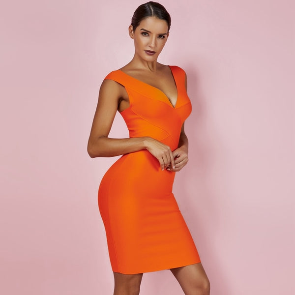 Narily Beautiful High Quality Orange Bodycon Bandage Dress - The Star Fashions