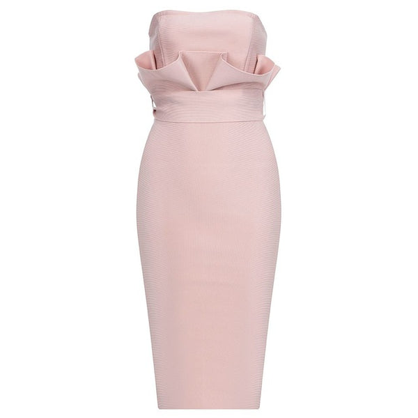 Fashion Strapless Sexy Pink Sashes Bodycon Dress - The Star Fashions